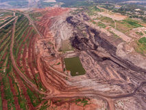 Transportation in Coal Mine. Aerial View Stock Photo
