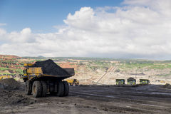 Transportation in Coal Mining. Big foot Transportation in Coal Mining Royalty Free Stock Photos