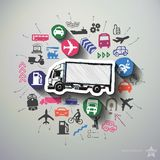 Transportation collage with icons background Stock Photography