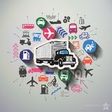 Transportation collage with icons background. Vector illustration Stock Images