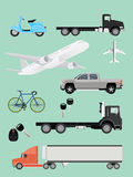 Transportation collection truck suv plane airplane trailer motor and bike Stock Images