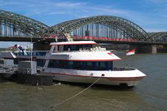Transportation, Cologne, Germa. Quay view of Rhine river and Hohenzollern railway bridge in Cologne, Germany Stock Image