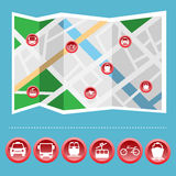 Transportation Colorful Icon Set on the Map Royalty Free Stock Photography