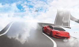 Transportation, comfort and creativity concept. Abstract sky road with luxury sports car and airplane. Transportation, comfort and creativity concept. 3D vector illustration