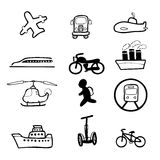 Transportation commuter drawing icons set Royalty Free Stock Photos