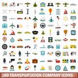 100 transportation company icons set, flat style. 100 transportation company icons set in flat style for any design vector illustration vector illustration