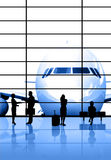 Transportation concept. People waiting for the flight vector illustration