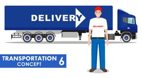 Transportation concept. Detailed illustration of delivery truck and driver on white background in flat style. Vector Stock Photography