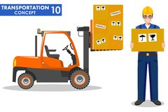 Transportation concept. Detailed illustration of forklift truck with cargo and deliveryman hold the box on white background Royalty Free Stock Photos