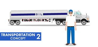 Transportation concept. Detailed illustration of gasoline truck and driver on white background in flat style. Vector Royalty Free Stock Photo