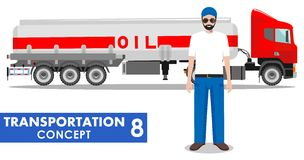 Transportation concept. Detailed illustration of gasoline truck and driver on white background in flat style. Vector Stock Photos