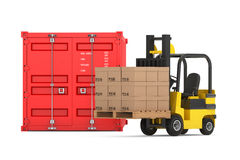 Transportation Concept. Forklift with Cardboard Boxes near Shipp Royalty Free Stock Photo