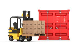 Transportation Concept. Forklift with Cardboard Boxes near Shipp Royalty Free Stock Images