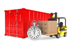 Transportation Concept. Forklift with Cardboard Boxes and Stopwa. Tch near Shipping Container on a white background Stock Images