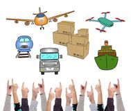 Transportation concept pointed by several fingers Stock Photo