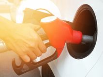 Transportation concept. Refill fuel at gas station Royalty Free Stock Photography