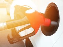 Transportation concept. Refill fuel at gas station Royalty Free Stock Images