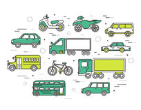 Transportation concept set icons illustration in thin lines style design. Tamplate for web and mobile backgrounds. Transportation concept set icons illustration Stock Photo