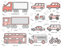 Transportation concept set icons illustration in thin lines style design. Tamplate for web and mobile backgrounds. Transportation concept set icons illustration Royalty Free Stock Photography