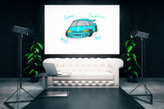 Transportation concept. Studio interior with car sketch, sofa and professional lighting. Transportation concept. 3D Rendering Stock Photography
