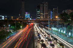 Transportation in the crowded city at night Royalty Free Stock Photo