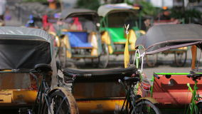Transportation with cyclo in indonesia stock video