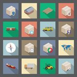 Transportation and delivery flat icons set Royalty Free Stock Photo