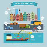 Transportation delivery flat infographic plane cargo ship road Stock Images