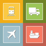 Transportation and delivery icons flat set Royalty Free Stock Photo