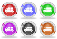 Transportation  Delivery Truck Web Icon Button. Set of transportation or shipping delivery truck web icon buttons with beveled white rims in six pastel colors Stock Photos