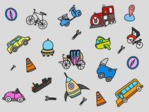 Transportation doodle with color full object vector vector illustration