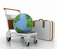 Transportation of earth on a freight light cart Royalty Free Stock Image