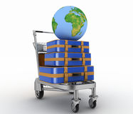 Transportation of earth and suitcases on freight light cart Royalty Free Stock Photo