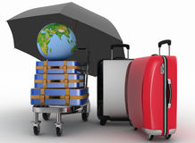 Transportation of earth and suitcases on freight light cart under umbrella Royalty Free Stock Photo