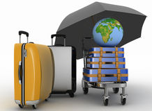 Transportation of earth and suitcases on freight light cart under umbrella Stock Images