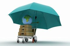 Transportation of earth and suitcases Stock Photo