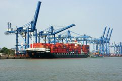 Transportation, export, import, Ho Chi Minh port Royalty Free Stock Images