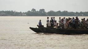 Transportation, ferry,  mekong, cambodia stock video footage