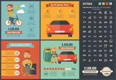 Transportation flat design Infographic Template Royalty Free Stock Photos