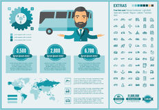 Transportation flat design Infographic Template Stock Photo