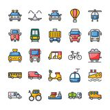 Transportation Flat Icons Pack vector illustration