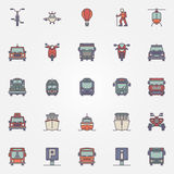 Transportation flat icons set Stock Photography