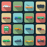 Transportation flat vector icons Stock Image