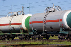 Transportation gas. Railroad cars for transportation of liquefied natural gas Royalty Free Stock Photography