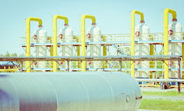 Transportation of gas. Equipment for processing and transportation of gas Royalty Free Stock Photo