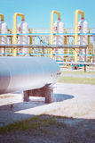 Transportation of gas. Equipment for processing and transportation of gas Royalty Free Stock Images