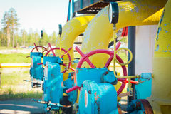 Transportation of gas. Equipment for processing and transportation of gas Royalty Free Stock Photos