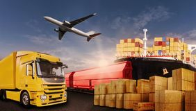 Transportation of goods by truck, plane, ship and train. Truck, rail, air and ship transport boxes symbolizing the international trade Stock Photos
