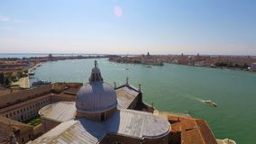 Transportation on Grand Canal, active water traffic, Venice top view, time lapse. Stock footage stock video footage