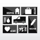 Transportation of health care in black Stock Images